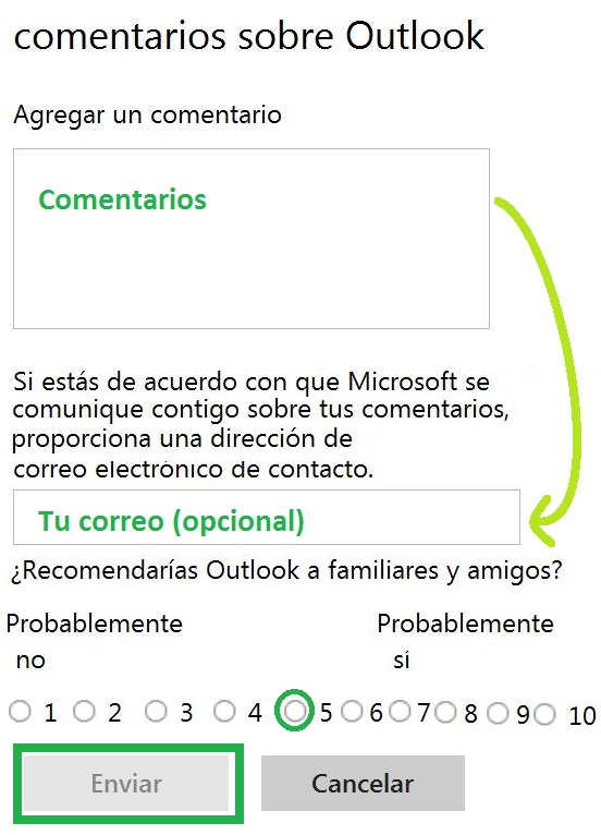 comentario sobre Outlook.com