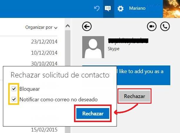 contactos en Skype para Outlook.com