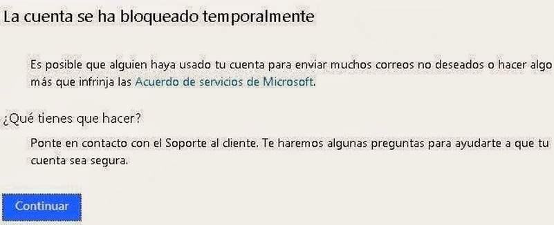 cuenta se ha bloqueado temporalmente en Outlook.com