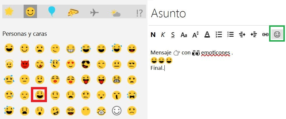 emoticones en Outlook.com