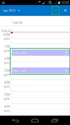 enviar calendario por Outlook para Android
