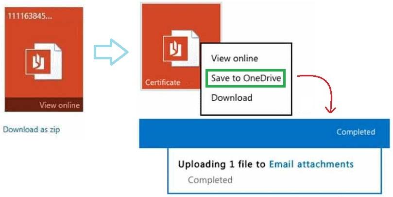 guardar archivos adjuntos en OneDrive