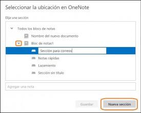 guardar mensajes en Onenote