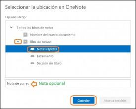guardar onenote correo electronico
