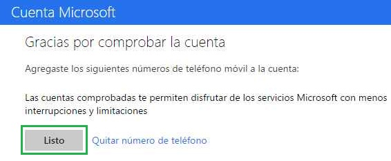 ingresar número telefónico en Outlook.com