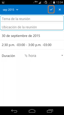 invitacion desde Outlook para Android