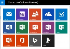 lanzador de aplicaciones en Outlook preview