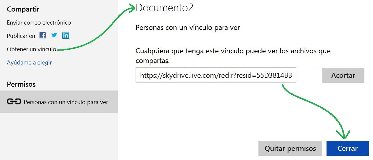 link de un archivo de SkyDrive