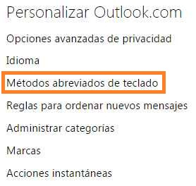 modificar atajos de teclado en outlook