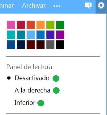 panel de lectura de Outlook.com