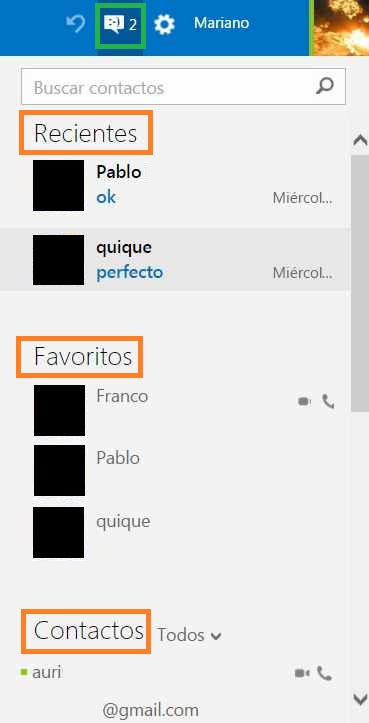 partes del chat de Outlook.com