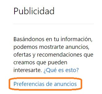 preferencias de anuncios en Outlook.com