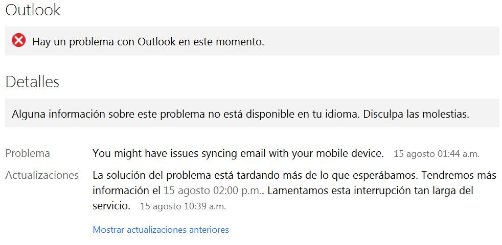 problemas en Outlook.com