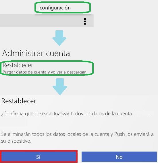 restablecer la cuenta de Outlook.com en Android