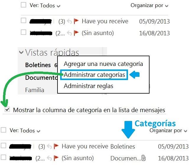 visualizar la categoría de cada correo electrónico