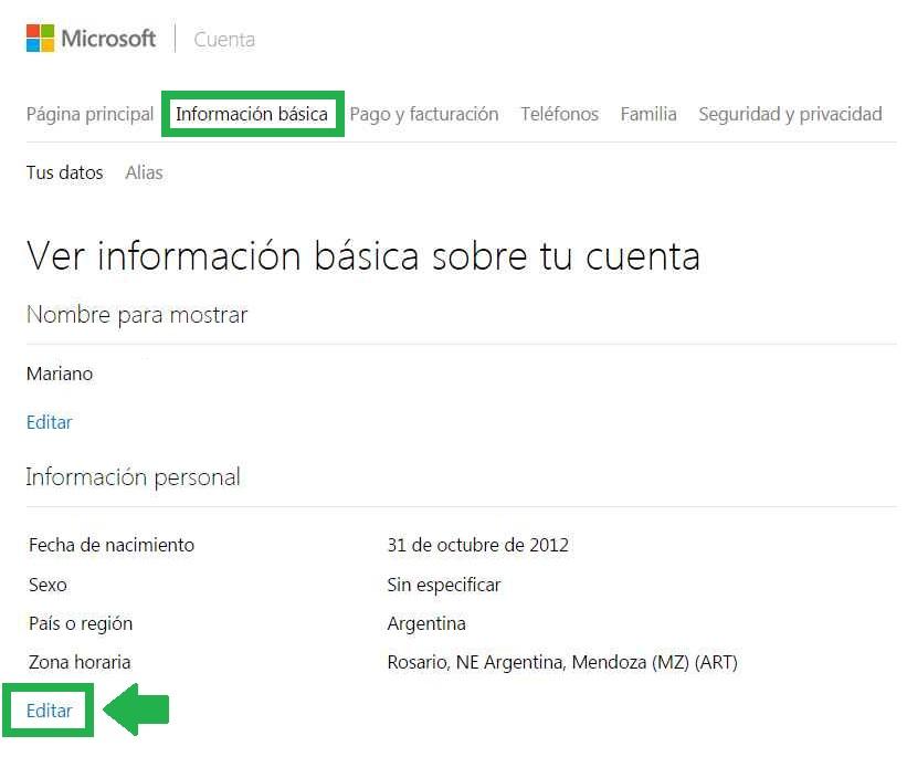 zona horaria en Outlook.com